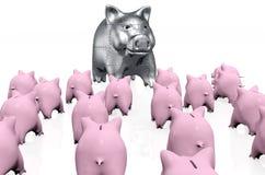 Een menigte van roze spaarvarkens ontmoet een vreemdeling Stock Foto's