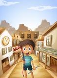 Een kleine mens die een boog en een pijl houden dichtbij de zaalbars vector illustratie