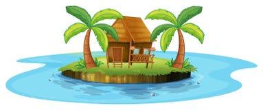 Een kleine nipahut in een eiland stock illustratie