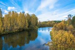 Een kleine rivier in de decoratie van de gele de herfstbomen Stock Afbeeldingen