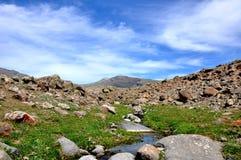 Een kleine rivier in de steppe Stock Foto's
