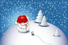 Een kleine sneeuwman stock illustratie