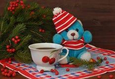 Een kleine stuk speelgoed teddybeer in een rode hoed, nette takken met rode bessen en een rode kop naast deze op een oude houten  Royalty-vrije Stock Foto