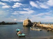 Een kleine vissershaven stock afbeeldingen