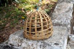 een kleine vogel in natuurlijke kooi voor verkoopt Royalty-vrije Stock Fotografie