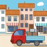 Een kleine vrachtwagen in de stad Stock Afbeeldingen