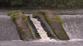 Een kleine waterdaling van een stroom stock footage