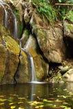 Een kleine waterval op heet seizoen Stock Fotografie