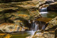 Een kleine waterval, Watkins Glen State Park stock foto's