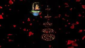 Een klem voor voor Diwali-groet Decoratieve mooie traditionele Diwali Diya of lampen en Lord Ganesha stock footage