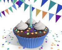 Een kleurrijke blauwe kopcake, die een ney geboren jongen vieren Stock Fotografie