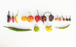 Een kleurrijke mengeling van de heetste Spaanse peperpeper Royalty-vrije Stock Afbeeldingen