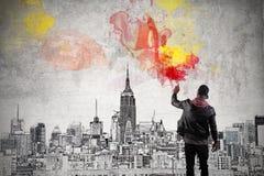 Een kleurrijke stad royalty-vrije stock afbeelding