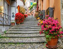 Een kleurrijke Straat in Bellagio, Italië royalty-vrije stock afbeelding