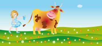 Een koe helpt aan een kleine stadbewonermelk Vector Illustratie
