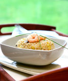 Een kom van garnaal, de paddestoel en het ei bewegen gebraden rijst royalty-vrije stock afbeelding