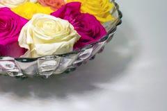 Een kom van gekleurde rozen in hoek van het kader op witte oppervlakte stock foto