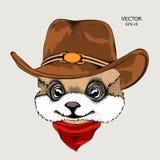 Een konijn in een cowboyhoed Vector illustratie Stock Afbeelding