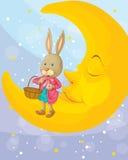 Een konijn en een maan Stock Foto's