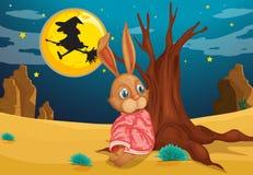 Een konijn naast een grote boomstam van een boom Stock Fotografie