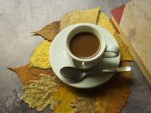Een kop koffie en bladeren royalty-vrije stock fotografie