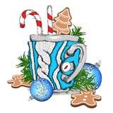 Een kop met een gebreid ontwerp Peperkoeken en Kerstmisballen De samenstelling van Kerstmis Vector illustratie Stock Foto's