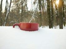 Een kop thee in de sneeuw in het de winterbos royalty-vrije stock afbeeldingen