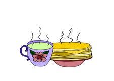 Een kop thee en pannekoeken Stock Fotografie