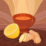 Een kop thee met bruine gember en citroen, Stock Afbeelding