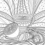 Een kop thee met gember en citroen, grayscale Royalty-vrije Stock Afbeeldingen