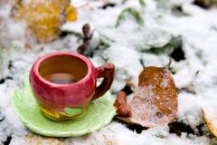 Een kop thee op achtergrond van snow-covered bladeren Stock Foto's