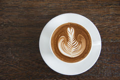Een kop van koffie, cappuccinokunst, latte kunst, latte, cappuccin Royalty-vrije Stock Foto