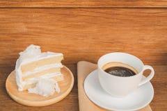 Een kop van koffie en een stuk van cake Royalty-vrije Stock Foto's