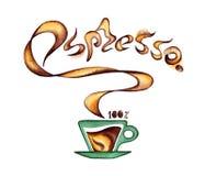 Een kop van koffie en geurige inschrijvingsespresso Stock Foto