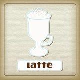 Een kop van koffie latte op het oude karton Stock Foto's