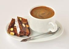 Een kop van Koffie met Panforte Royalty-vrije Stock Fotografie