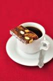 Een kop van Koffie met Panforte Royalty-vrije Stock Afbeelding