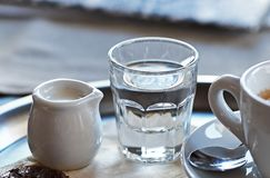 Een kop van koffie met een twijg van water en melk op een dienblad Royalty-vrije Stock Afbeeldingen