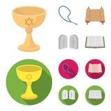 Een kop van wijn, Islamitische parels, tien bevelen, tanakh Pictogrammen van de godsdienst de vastgestelde inzameling in beeldver vector illustratie