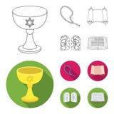 Een kop van wijn, Islamitische parels, tien bevelen, tanakh Pictogrammen van de godsdienst de vastgestelde inzameling in overzich stock illustratie