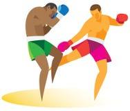 Een koppig duel tussen twee atletenkickboxers Stock Afbeelding