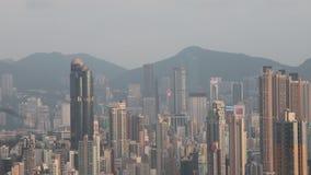 een Kowloon-Horizon het Bekijken Punt bij het oosten stock video