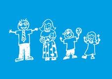 Een krabbelkunstwerk van een blije familie De illustratie van de krijtstijl Stock Afbeelding
