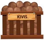 Een krat van kiwi stock illustratie