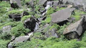Een kreek in de stenen onder de waterval stock videobeelden