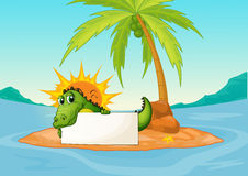Een krokodil die een leeg uithangbord in een klein eiland houden royalty-vrije illustratie