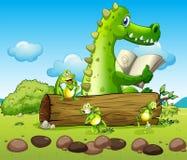 Een krokodil en de drie speelse kikkers vector illustratie