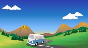 Een krommeweg met een bus vector illustratie