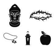 Een kroon van doornen, een ster van David, een priester, een hoofd van Boedha ` s Pictogrammen van de godsdienst de vastgestelde  royalty-vrije illustratie