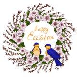 Een kroon van roze kersenbloemen met heldergroene bladeren en jonge wilg vertakt zich met de lentevogels Natuurlijk rond kader vo royalty-vrije illustratie